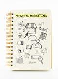 Le carnet sur le bureau avec l'icône se rapportent avec le marketing de Digital, Busine Image libre de droits