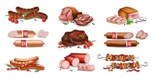Le carni hanno fissato il vettore della raccolta realistico La salsiccia, il salame, il bacon ed il barbecue hanno dettagliato le illustrazione vettoriale