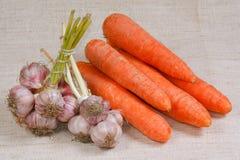 Le carote e l'aglio freschi Fotografie Stock