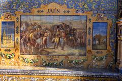 Le carrelage en Plaza de Espana en Séville a été établi pour l'Exposicion 1929 Ibero-americana Image libre de droits