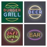 Le carte al neon leggere identifica la fonte dell'illustrazione di vettore notte decorativa di simboli oggetti luminosi del testo Immagine Stock