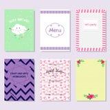 Le carte con varia progettazione per scopo differente con la doccia di bambino del testo, menu, hanno lasciato il partito del ` s illustrazione vettoriale