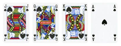 Le carte da gioco del vestito della vanga, insieme includono re, la regina, Jack e Ace illustrazione di stock