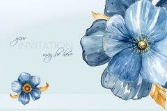 Le carte dell'invito dell'acquerello con indaco sottraggono gli elementi dei fiori Immagini Stock Libere da Diritti