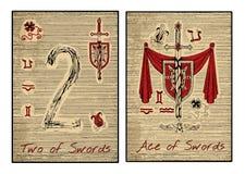 Le carte di tarocchi nel rosso Ace delle spade royalty illustrazione gratis