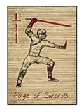 Le carte di tarocchi nel rosso Pagina delle spade Immagini Stock