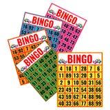 Le carte variopinte di bingo vector l'illustrazione isolata su bianco Fotografie Stock