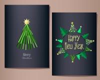 Le cartoline d'auguri del nuovo anno e di Natale hanno messo, illustrazione, fondo blu scuro Fotografie Stock Libere da Diritti