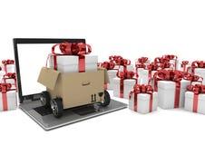 Le carton de carnet roule des boîte-cadeau Photo stock