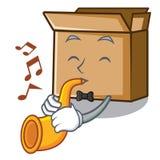 Le carton de trompette ?tant isol? avec dans la mascotte illustration libre de droits