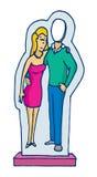 Le carton tiennent le chiffre de couples avec l'homme absent Photo stock