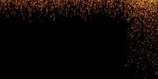 Le cascate delle particelle dorate del champagne delle bolle della scintilla di scintillio stars su fondo nero, festa del buon an illustrazione vettoriale