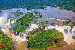Le cascate di Iguazu da un elicottero Fotografia Stock