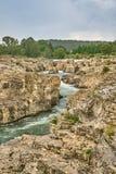 Le cascate di Sautadet è un Touris pericoloso fotografia stock libera da diritti