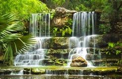 Le cascate nel parco preistorico al giardino botanico di Zilker in Austin Texas fotografia stock libera da diritti