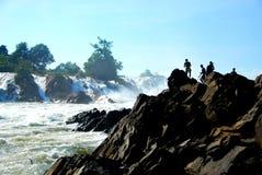 Le cascate potenti di Khone Phapheng vicino a Don Det Fotografia Stock