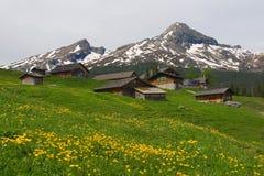 Le case alpine si avvicinano a Grindelwald Fotografie Stock