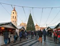 Le case del ricordo della gente e l'albero di Natale in cattedrale quadrano Vilnius Fotografie Stock