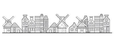 Le case, il mulino a vento e la città di Amsterdam disegnano i Paesi Bassi Fotografia Stock