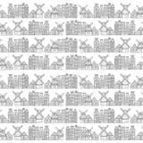 Le case, il mulino a vento e la città di Amsterdam modellano i Paesi Bassi Immagini Stock Libere da Diritti