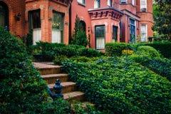 Le case a schiera vicino a Du Pont circondano in Washington, DC Fotografia Stock Libera da Diritti