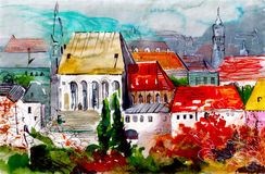 Le case sveglie con rosso copre il materiale illustrativo dell'acquerello Immagine Stock Libera da Diritti