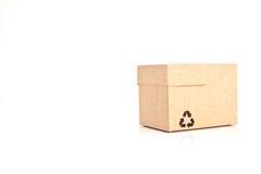 Le caselle di carta con riciclano il simbolo Fotografia Stock Libera da Diritti