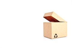 Le caselle di carta con riciclano il simbolo Immagini Stock
