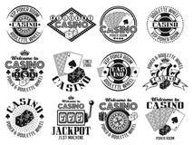 Le casino et le vecteur de jeu symbolise, des labels, insignes illustration libre de droits