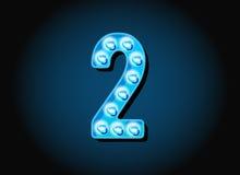 Le casino ou le Broadway signe des nombres de chiffres d'ampoule de style illustration libre de droits