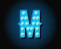 Le casino ou le Broadway signe la lettre d'alphabet d'ampoule de lampe au néon de style Images libres de droits