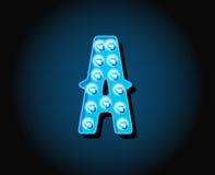 Le casino ou le Broadway signe la lettre d'alphabet d'ampoule de lampe au néon de style Images stock