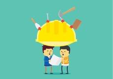 Le casque jaune protègent la tête de l'ingénieur illustration libre de droits