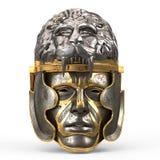Le casque médiéval d'imagination s'est fermé avec le masque de fer, et le lion sur le dessus, sur le blanc a isolé le fond illust Photo stock