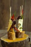 Le casse-croûte de fromage avec le tofu, poivron vert, nori part Photo libre de droits