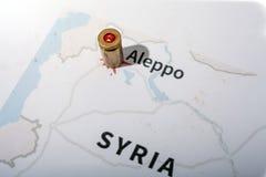 Le casse e le pallottole infornate dal fucile Vista del fondo su regione di sezione di Aleppo, Siria Fotografia Stock Libera da Diritti
