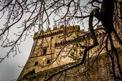 Le castel sur la colline du cimino de nel de soriano et de l'automne pousse des feuilles Photographie stock libre de droits