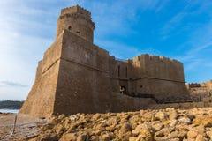 Le Castella城堡在品柱Rizzuto,卡拉布里亚,意大利的 免版税库存照片