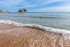 城堡Le Castella,卡拉布里亚(意大利) 库存照片