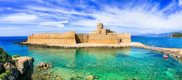 Le Castella ,beautiful medieval castle in Calabria,Italy. Impressive fortress over sunset,Le Castella,Crotone,Calabria,Italy stock images