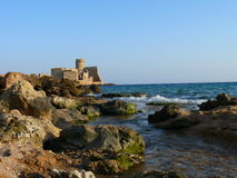 Le castella in Calabria. Old fortress from medieval times from far distance Stock Photos