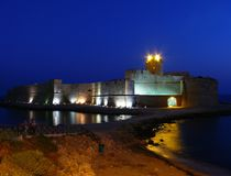Le castella in Calabria. Old fortress from medieval times in night Royalty Free Stock Photography