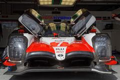Number Seven Toyota in the pits. LE CASTELLET, FRANCE, April 7, 2018 : Racing cars and teams during the training sessions for World Endurance Car Championship Stock Photos