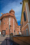 Le castillet, heritage landmark of the city of Perpignan stock photography