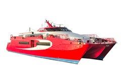 Le catamaran rapide de passager a découpé sur un fond blanc Photographie stock libre de droits