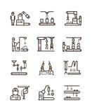 Le catene di montaggio robot di fabbricazione ed il trasportatore automatico con i manipolatori allineano le icone di vettore Fotografie Stock