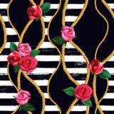 Le catene dorate della corda, sono aumentato modello senza cuciture Struttura disegnata a mano di modo dell'acquerello royalty illustrazione gratis
