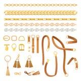 Le catene e le cinghie adattano l'insieme di elementi fashionable royalty illustrazione gratis