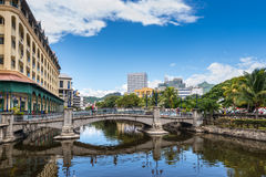 Le Caudan Waterfront, Port Louis, Mauritius. Port Louis, Mauritius - December 25, 2015: Bridge in the city center of Port Louis, capital of Mauritius, Indian Royalty Free Stock Photography