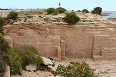 Le cave del cappuccio Baou Tailla, La Couronne, Francia fotografia stock